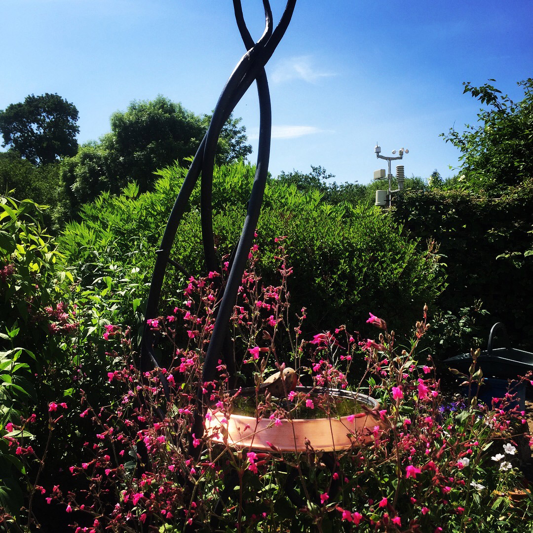 Copper and Steel Sculptural Birdbath Simon Connett Blacksmith Dorset
