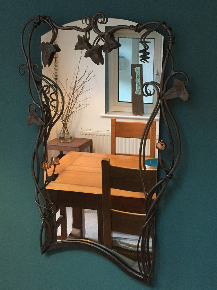 Forged Steel Ivy Leaf Mirror Simon Connett Blacksmith Dorset