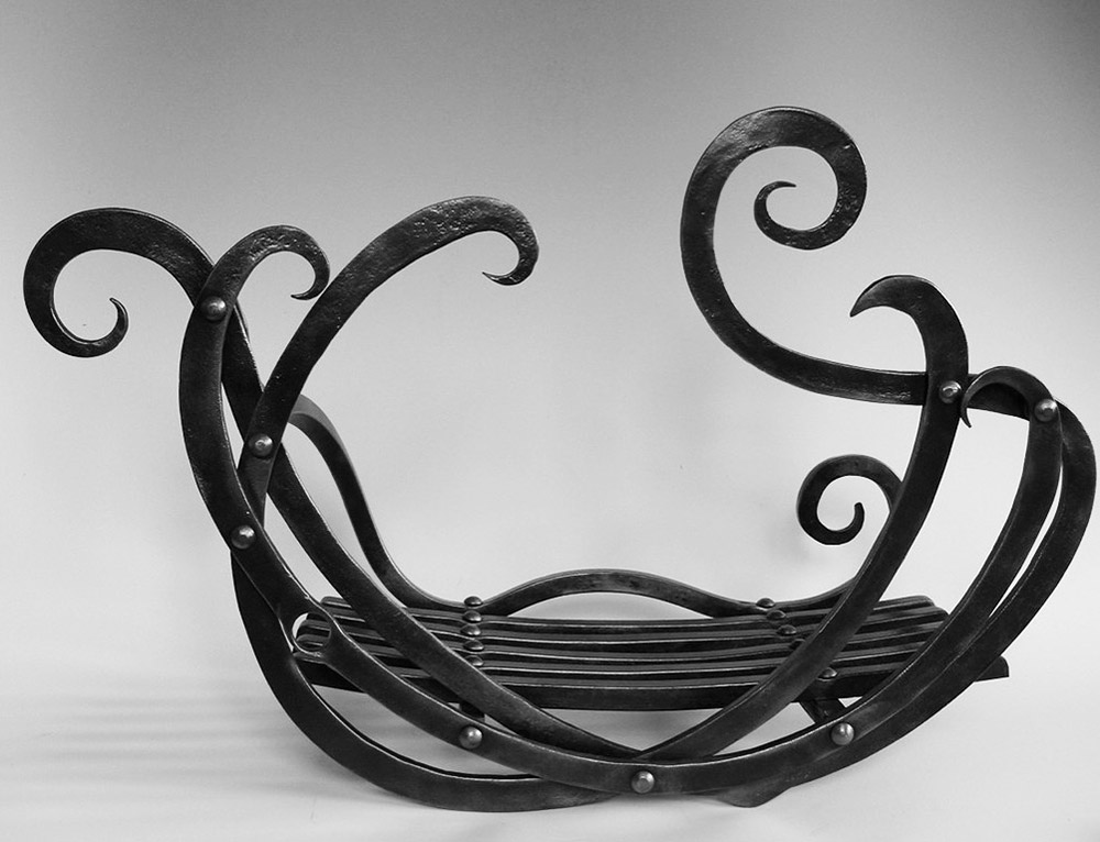 Forged Steel Art Nouveau Fire Basket Simon Connett Blacksmith Devon