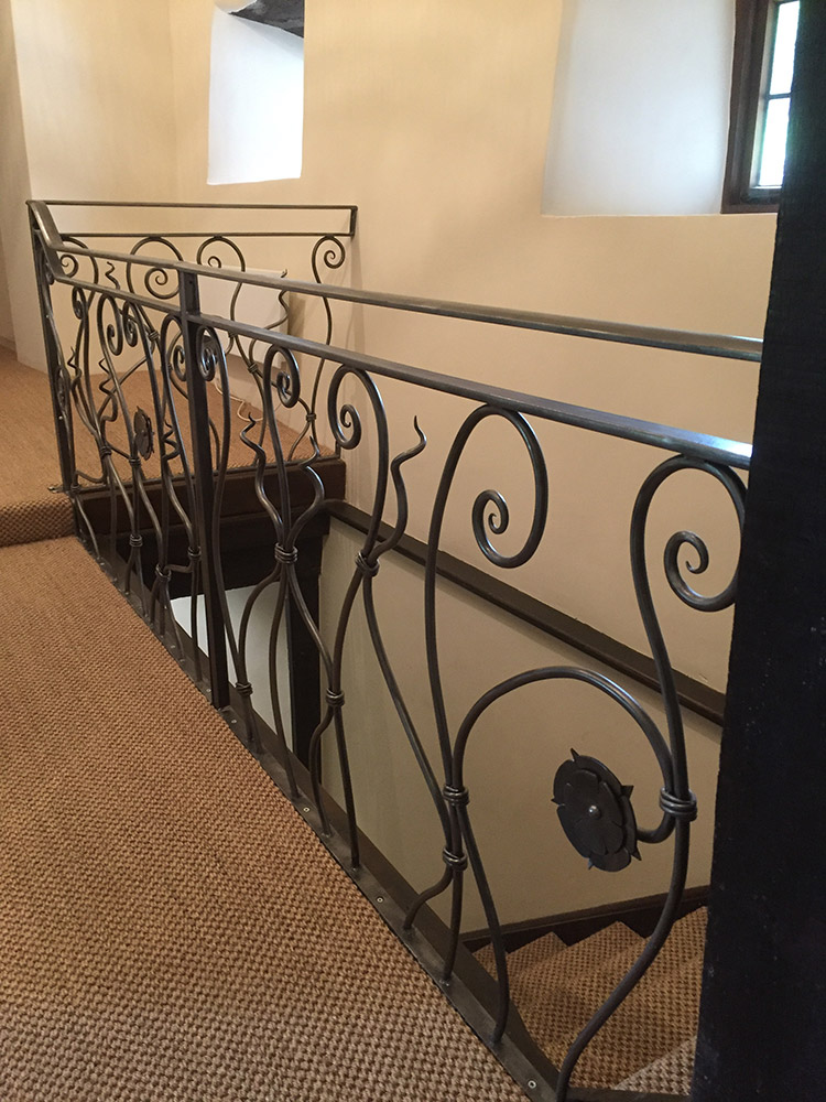 Forged Steel Tudor Rose balustrade Simon Connett Blacksmith Dorset