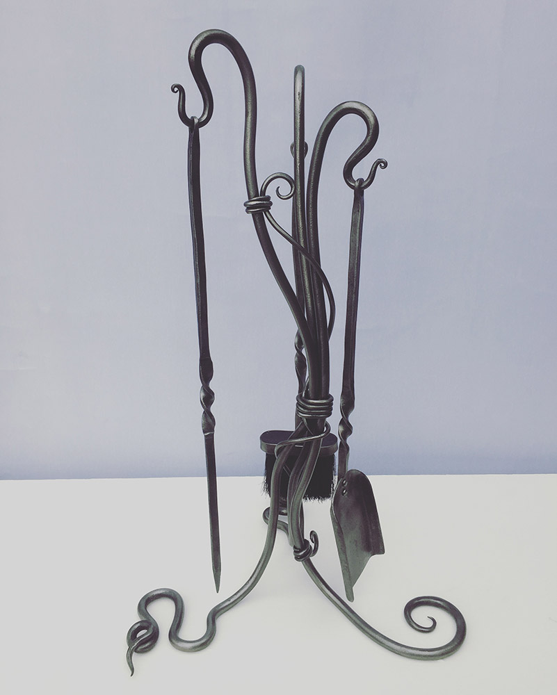 Forged Steel Twisted Fire Iron Set Simon Connet Blacksmith Devon