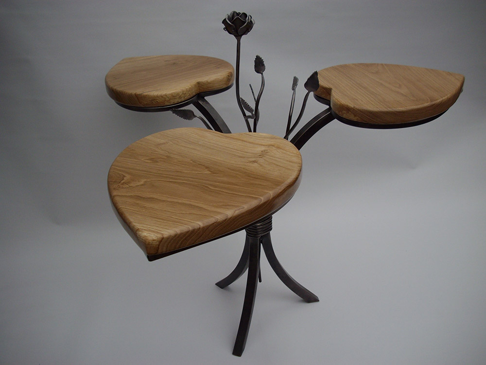 Forged Steel and Iron Side Table Simon Connett Blacksmoth Devon