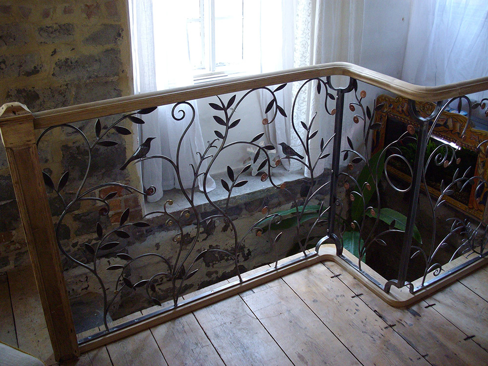 Forged Steel and Copper Balustrade Mermaid House Design Linzi West by Simon Connet Blacksmith Dorset