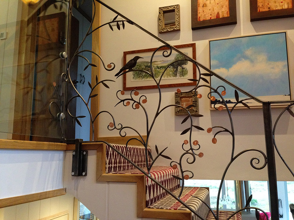 Forged Steel and Copper Balustrade Design Linzi West by Simon Connet Blacksmith Dorset