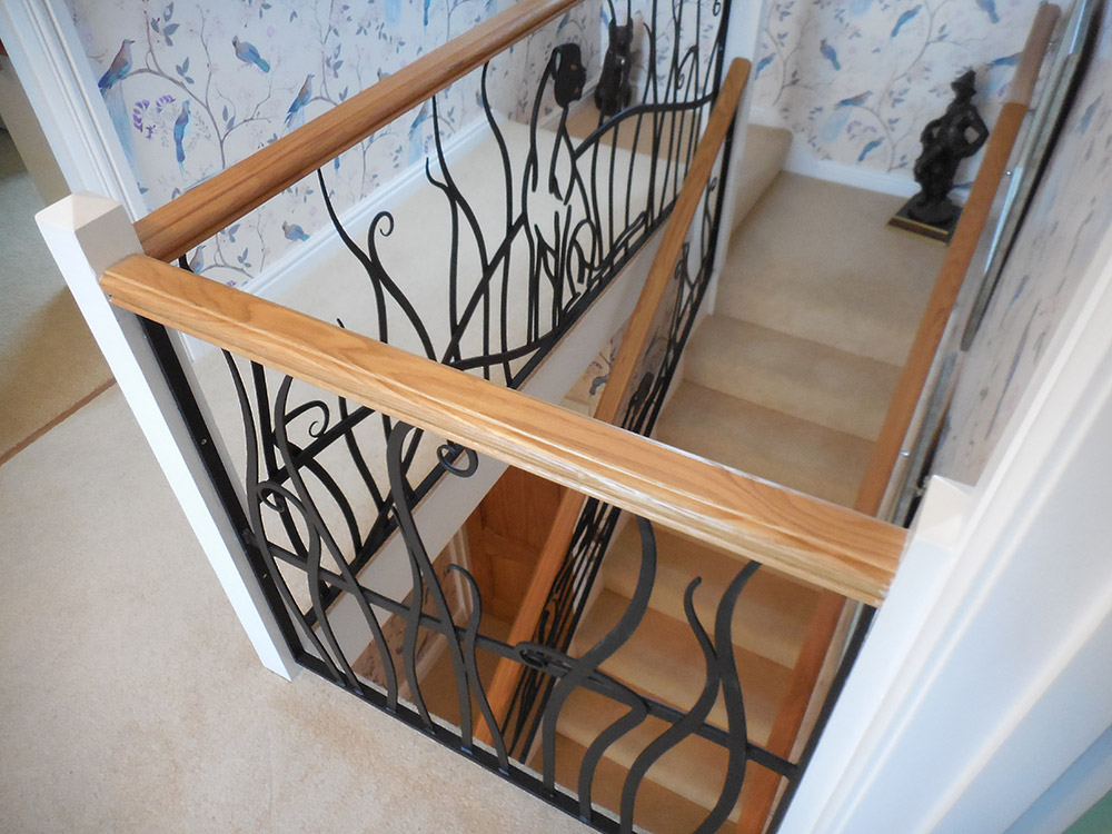 Painted Steel Cheetah Balustrade Simon Connett Blacksmith Dorset
