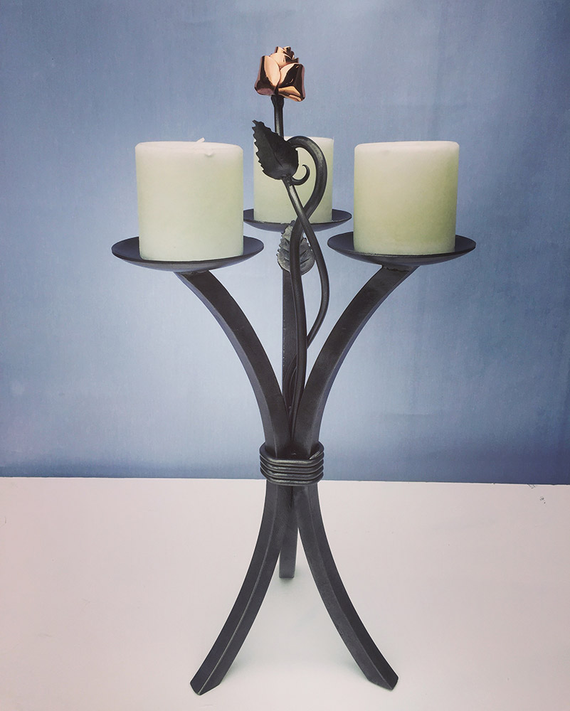 Steel and Copper Triple Candle Stand Simon Connet Blacksmith Devon
