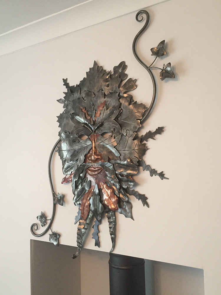 Forged Steel and Copper Green Man Simon Connett Blacksmith Dorset