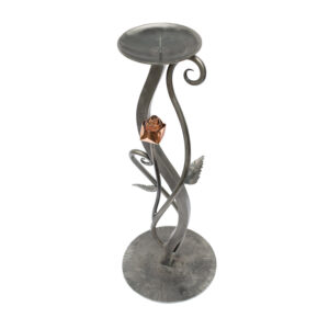 Candlestick Holder with Copper Rose