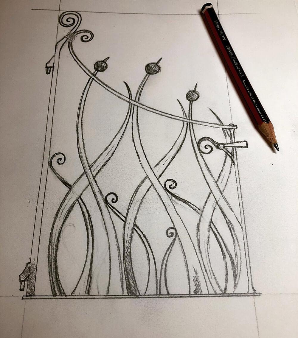 Art Nouveau Gate Drawing