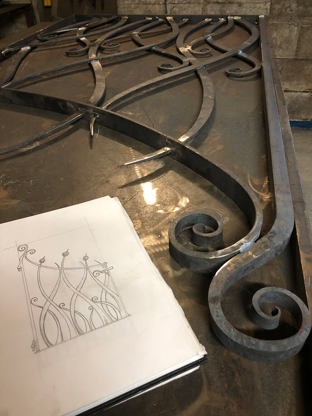 Art Nouveau Gate Drawing and Realised